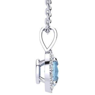 1 Carat Oval Shape Blue Topaz and Halo Diamond Necklace In 14 Karat White Gold With 18 Inch Chain