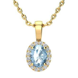 1 Carat Oval Shape Blue Topaz and Halo Diamond Necklace In 14 Karat Yellow Gold With 18 Inch Chain