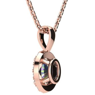 1 Carat Oval Shape Mystic Topaz and Halo Diamond Necklace In 14 Karat Rose Gold With 18 Inch Chain