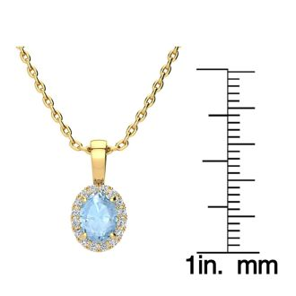 0.90 Carat Oval Shape Aquamarine and Halo Diamond Necklace In 14 Karat Yellow Gold With 18 Inch Chain
