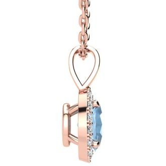 0.90 Carat Oval Shape Aquamarine and Halo Diamond Necklace In 14 Karat Rose Gold With 18 Inch Chain