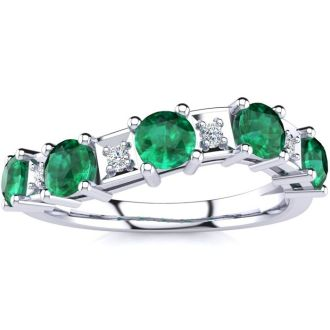 1 1/3 Carat Emerald and Diamond Journey Band Ring in 10K White Gold