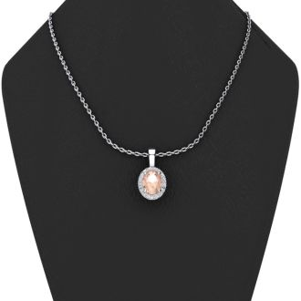 0.90 Carat Oval Shape Morganite and Halo Diamond Necklace In 14 Karat White Gold With 18 Inch Chain