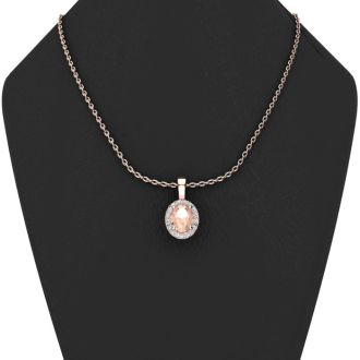 0.90 Carat Oval Shape Morganite and Halo Diamond Necklace In 14 Karat Rose Gold With 18 Inch Chain
