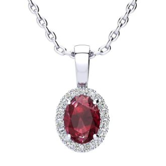 1 Carat Oval Shape Ruby and Halo Diamond Necklace In 14 Karat White Gold With 18 Inch Chain