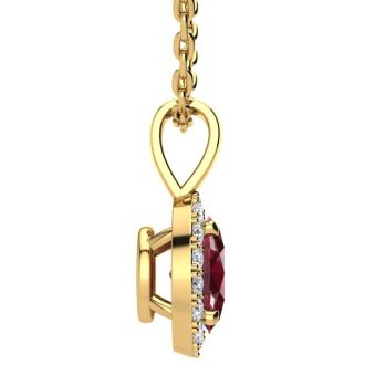 1 Carat Oval Shape Ruby and Halo Diamond Necklace In 14 Karat Yellow Gold With 18 Inch Chain