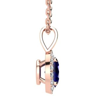1 Carat Oval Shape Sapphire and Halo Diamond Necklace In 14 Karat Rose Gold With 18 Inch Chain