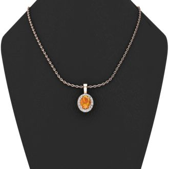 1 1/4 Carat Oval Shape Citrine and Halo Diamond Necklace In 14 Karat Rose Gold With 18 Inch Chain