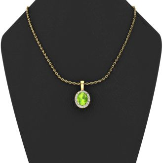 1 1/2 Carat Oval Shape Peridot and Halo Diamond Necklace In 14 Karat Yellow Gold With 18 Inch Chain