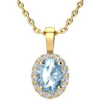 1 1/2 Carat Oval Shape Blue Topaz and Halo Diamond Necklace In 14 Karat Yellow Gold With 18 Inch Chain