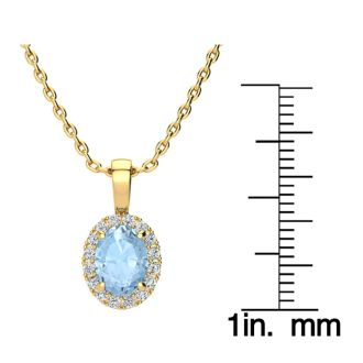 1 1/3 Carat Oval Shape Aquamarine and Halo Diamond Necklace In 14 Karat Yellow Gold With 18 Inch Chain