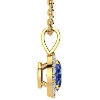 1 1/2 Carat Oval Shape Tanzanite and Halo Diamond Necklace In 14 Karat Yellow Gold With 18 Inch Chain