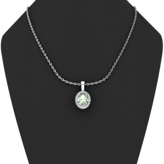 1 1/4 Carat Oval Shape Green Amethyst and Halo Diamond Necklace In 14 Karat White Gold With 18 Inch Chain