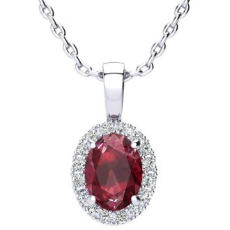 1 2/3 Carat Oval Shape Ruby and Halo Diamond Necklace In 14 Karat White Gold With 18 Inch Chain