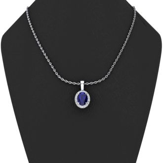 1 3/4 Carat Oval Shape Sapphire and Halo Diamond Necklace In 14 Karat White Gold With 18 Inch Chain