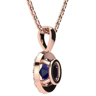 1 3/4 Carat Oval Shape Sapphire and Halo Diamond Necklace In 14 Karat Rose Gold With 18 Inch Chain