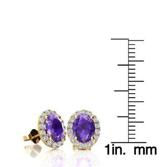 1 1/2 Carat Oval Shape Amethyst and Halo Diamond Stud Earrings In 14 Karat Yellow Gold