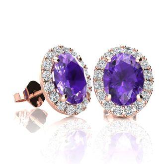 1 1/2 Carat Oval Shape Amethyst and Halo Diamond Stud Earrings In 14 Karat Rose Gold