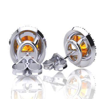 1 1/2 Carat Oval Shape Citrine and Halo Diamond Stud Earrings In 10 Karat White Gold