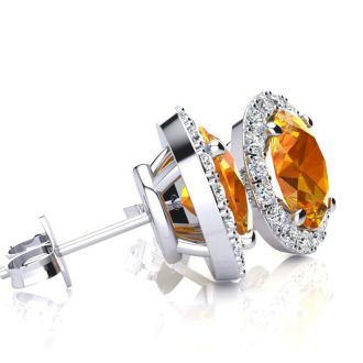 1 1/2 Carat Oval Shape Citrine and Halo Diamond Stud Earrings In 14 Karat White Gold