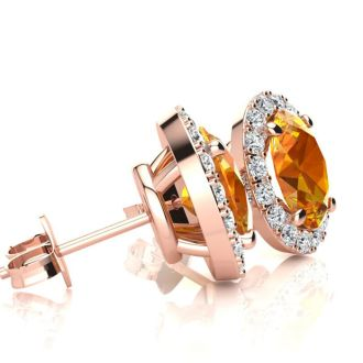 1 1/2 Carat Oval Shape Citrine and Halo Diamond Stud Earrings In 10 Karat Rose Gold