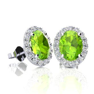 2 Carat Oval Shape Peridot and Halo Diamond Stud Earrings In 10 Karat White Gold