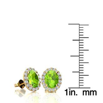 2 Carat Oval Shape Peridot and Halo Diamond Stud Earrings In 10 Karat Yellow Gold