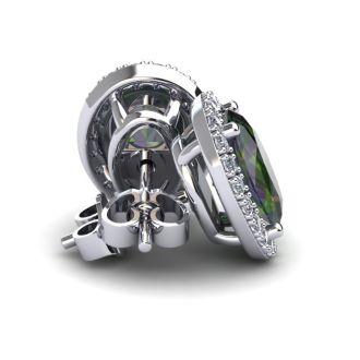 2 1/4 Carat Oval Shape Mystic Topaz and Halo Diamond Stud Earrings In 14 Karat White Gold