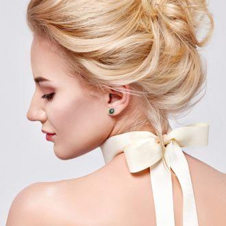 2 1/4 Carat Oval Shape Mystic Topaz and Halo Diamond Stud Earrings In 10 Karat Yellow Gold