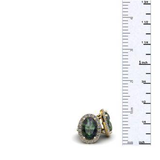 2 1/4 Carat Oval Shape Mystic Topaz and Halo Diamond Stud Earrings In 14 Karat Yellow Gold