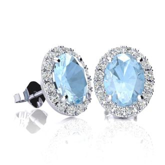 1 3/4 Carat Oval Shape Aquamarine and Halo Diamond Stud Earrings In 14 Karat White Gold