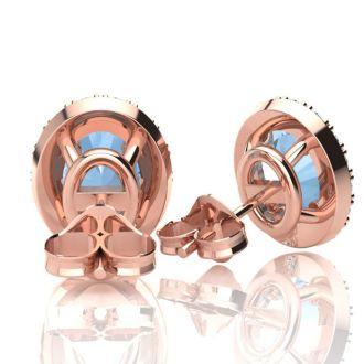 1 3/4 Carat Oval Shape Aquamarine and Halo Diamond Stud Earrings In 10 Karat Rose Gold