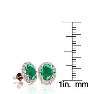 1 3/4 Carat Oval Shape Emerald and Halo Diamond Stud Earrings In 14 Karat Rose Gold