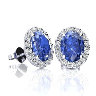 2 Carat Oval Shape Tanzanite and Halo Diamond Stud Earrings In 10 Karat White Gold
