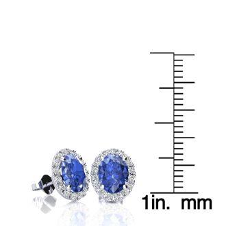 2 Carat Oval Shape Tanzanite and Halo Diamond Stud Earrings In 14 Karat White Gold