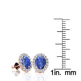 2 Carat Oval Shape Tanzanite and Halo Diamond Stud Earrings In 14 Karat Rose Gold