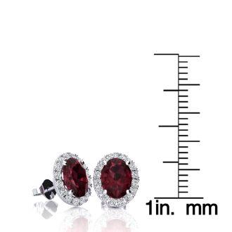 2 1/4 Carat Oval Shape Garnet and Halo Diamond Stud Earrings In 14 Karat White Gold