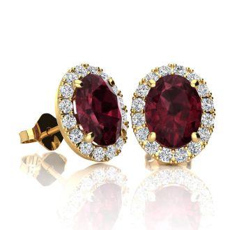 2 1/4 Carat Oval Shape Garnet and Halo Diamond Stud Earrings In 14 Karat Yellow Gold