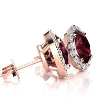 2 1/4 Carat Oval Shape Garnet and Halo Diamond Stud Earrings In 14 Karat Rose Gold