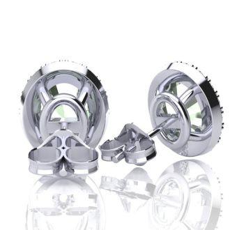 1 1/2 Carat Oval Shape Green Amethyst and Halo Diamond Stud Earrings In 10 Karat White Gold