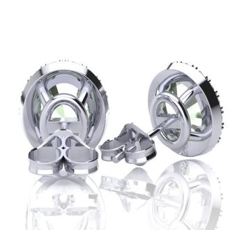 1 1/2 Carat Oval Shape Green Amethyst and Halo Diamond Stud Earrings In 14 Karat White Gold