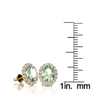 1 1/2 Carat Oval Shape Green Amethyst and Halo Diamond Stud Earrings In 10 Karat Yellow Gold
