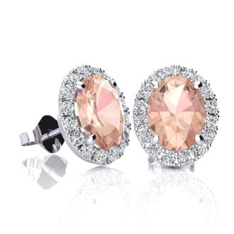 1 3/4 Carat Oval Shape Morganite and Halo Diamond Stud Earrings In 14 Karat White Gold