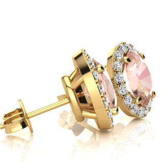 1 3/4 Carat Oval Shape Morganite and Halo Diamond Stud Earrings In 14 Karat Yellow Gold