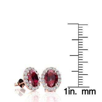 2 Carat Oval Shape Ruby and Halo Diamond Stud Earrings In 10 Karat Rose Gold