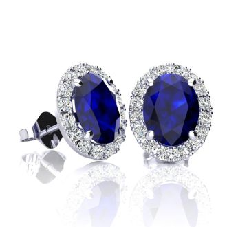2 1/4 Carat Oval Shape Sapphire and Halo Diamond Stud Earrings In 14 Karat White Gold