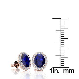 2 1/4 Carat Oval Shape Sapphire and Halo Diamond Stud Earrings In 10 Karat Rose Gold