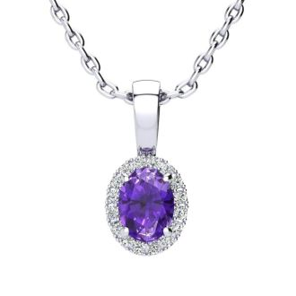 1/2 Carat Oval Shape Amethyst and Halo Diamond Necklace In 14 Karat White Gold With 18 Inch Chain