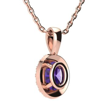 1/2 Carat Oval Shape Amethyst and Halo Diamond Necklace In 14 Karat Rose Gold With 18 Inch Chain