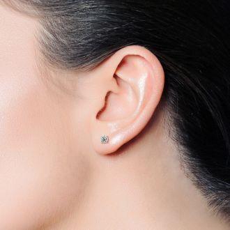3/8 Carat Single Diamond Stud Earring In 14 Karat White Gold